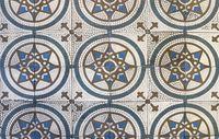 Checkered traditional European ceramic mosaic tile background pattern