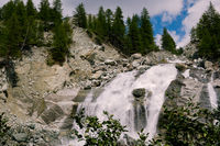 Waterfall on the Navisence river in Val d' Anniviers, Switzerland