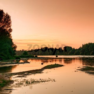 picturesque and calm summer evening sunset on the Loire River in France