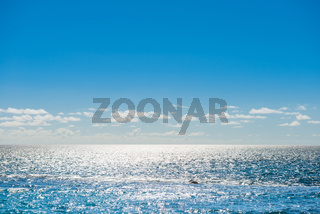 Seascape with sunlight reflection and calm waves