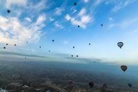 Panorama view of hot air balloons flying over Cappadocia
