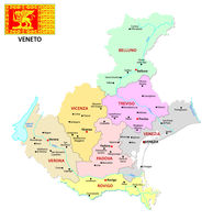 veneto administrative and political map with flag