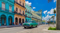 Street life view with american vintage cars on the main street in Havana City Cuba - Serie Cuba Repo