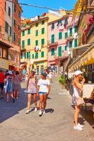 Tourists in Riomaggiore