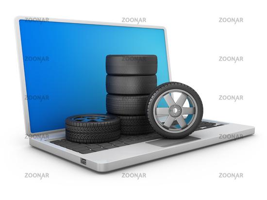 car tires on laptop