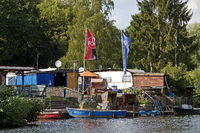 boat rental and campsite on the river Ruhr, Witten, North Rhine-Westphalia, Germany, Europe
