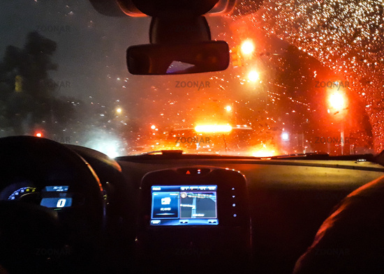 Inside Car Traffic Night Scene