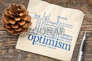 optimism word cloud on napkin