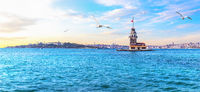 The Maiden's Tower or Leander's Tower, beautiful Istanbul panorama