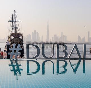 Burj Khalifa from Dubai Creek Harbor. Dubai - UAE. 26 January 2018
