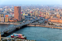Bridge over the Nile and the downtown of Cairo