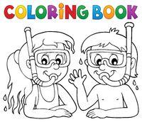 Coloring book children snorkel divers