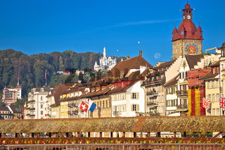 Luzern and Reuss river waterfront and famous landmarks view