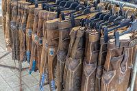 Bavarian Lederhosen for sale at a market stall in Germany