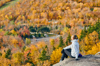 Woman hiking at Artist's Bluff in autumn