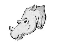 Sumatran Rhinoceros Endangered Wildlife Cartoon Retro Drawing