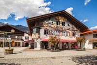 Beautiful houses in Garmisch-Partenkirchen in Germany