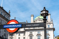Low angle view of Underground sign in London