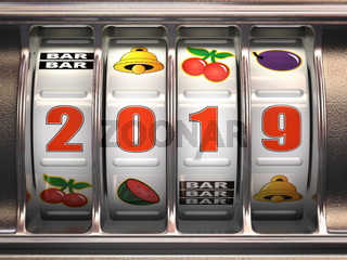 Happy New Year 2019 in casino. Slot machine with jackpot number 2019.