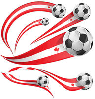 Canada flag set with soccer ball. vector