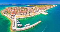 Colorful Island of Krapanj aerial panoramic view