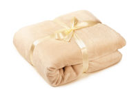 Soft beige fleece blanket gift, folded