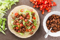 Flour Tortilla with Beans, Lettuce and Tomato
