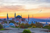 Hagia Sophia and the asian side of Istanbul on the background, sunset view