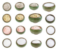 collection from ceramic salt cellar with salts