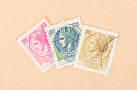 ITALY - CIRCA 1960: Stamps printed in Italy showing a person with a crown, circa 1960
