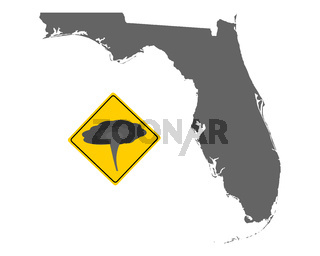 Karte von Florida mit Verkehrsschild Tornadowarnung - Map of Florida and traffic sign tornado warning