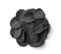 Top view of black potato chips