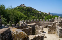 Curtain wall and defensive battlements of Castle of the Moors. Sintra. Portugal
