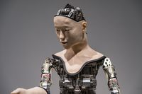 TOKYO, JAPAN - 21 FEB 2018: Humanoid robot performing show in Miraikan National Museum of Emerging Science and Innovation