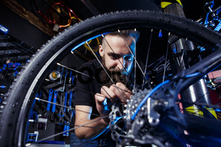 Subject profession. Young stylish caucasian male with a beard at work is repairing a bicycle. Bike shop, service and repair of bikes. Look at the wheel