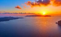 Scenic sundown in Santorini