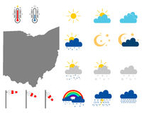 Karte von Ohio mit Wettersymbolen - Map of Ohio with weather symbols