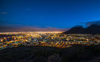 Cape Town, South Africa at night, view from Signal Hill