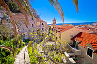 Town of Omis old stone mediterranean street and church view