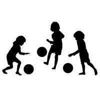 Children soccer, vector silhouettes