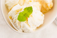 Vanilla Ice Cream with Mint in bowl Organic product