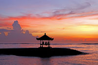 Balinese Pagoda on Sanur Beach at Sunrise