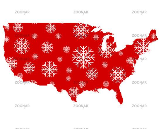 Karte der USA mit Schneeflocken - Map of the USA with snowflakes