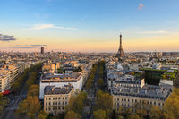 Paris France aerial view city skyline at Eiffel Tower and Champs Elysees street