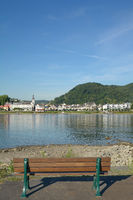 view over Rhine River to Bad Breisig,Rhineland-Palatinate,Germany