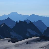 Rugged mountains seen from mount Titlis, Switzerland.