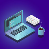Isometric workspace composition with laptop and papers. 3d vector illustration.
