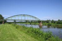 Minden - Railway bridge over the Weser river, Germany