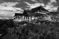Black and white night photo of Kiyomizu-dera Temple in Kyoto, Japan