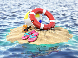 Small island with lifebelt ball and flipflops. Summer trip vacation security concept.